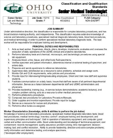 Medical Technologist Job Description Sample 6 Examples