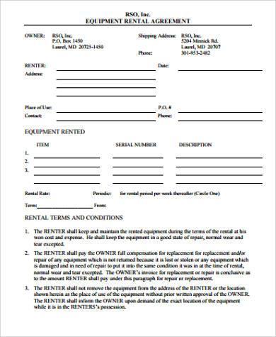 8 Equipment Rental Agreement Sample Free Sample Example