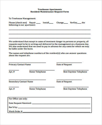 Maintenance Request Forms In Ms Word