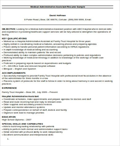 Medical Assistant Resume Objective 6 Examples In Word Pdf
