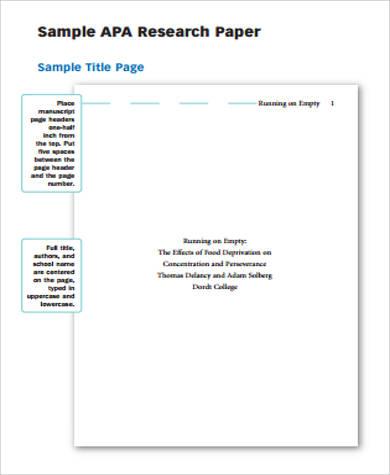 Sample Of Apa Paper 6 Examples In Word Pdf