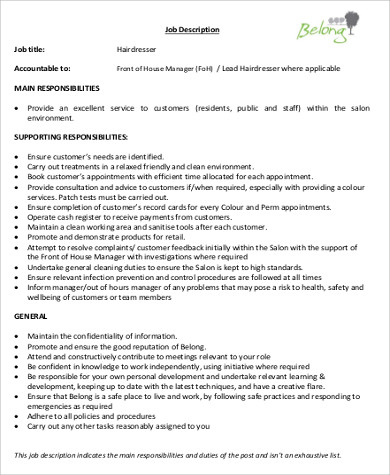 hairstylist job description sample 9 examples in word pdf