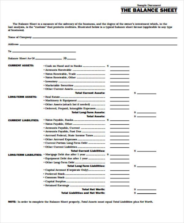 Printable Sheet Balance Bank