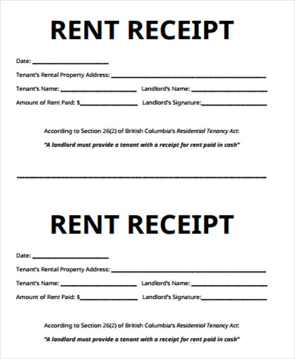 Receipt For Rent Sample 7 Examples In Word Pdf