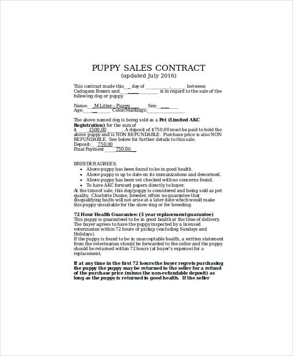 Puppy Sales Contract  The Cutest Puppies