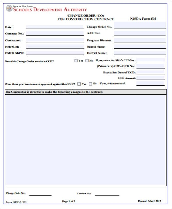 Contractor Work Order Form Template