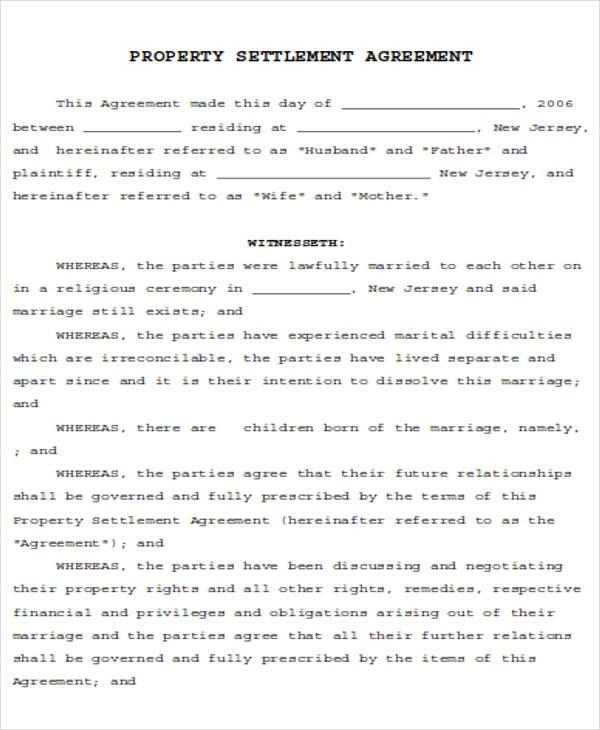 Divorce Agreement Sample 7 Examples In Word Pdf