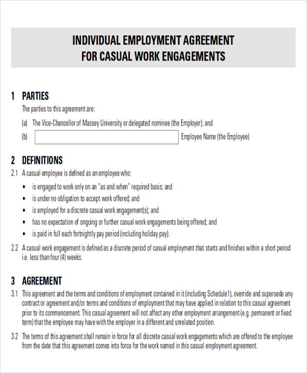 26 Sample Employment Agreements Free Word PDF Format Download