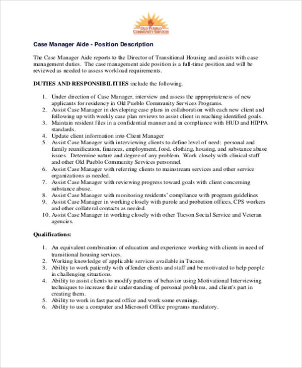 8 Case Management Job Description Samples Sample Templates