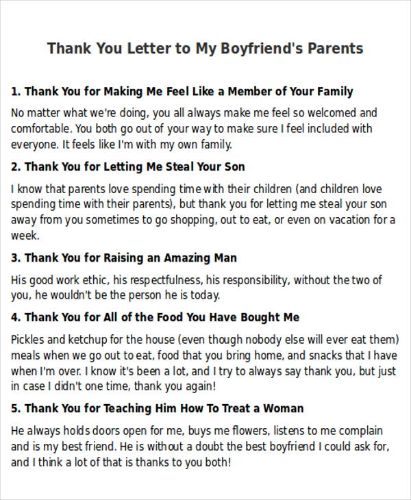Thank You Letter To Boyfriends Mom  MytemplateCo