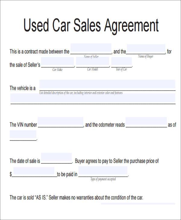 11 Vehicle Sales Agreement Samples Free Word Pdf Format