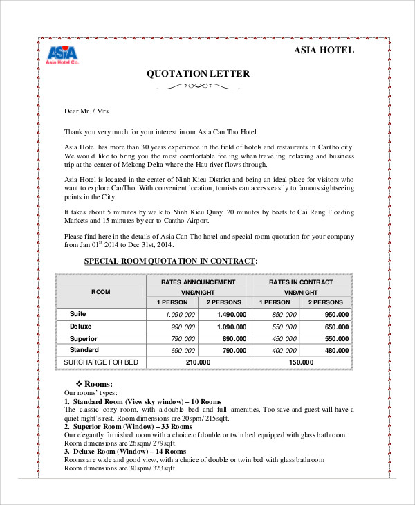 Quotation Letter Template  Docoments Ojazlink
