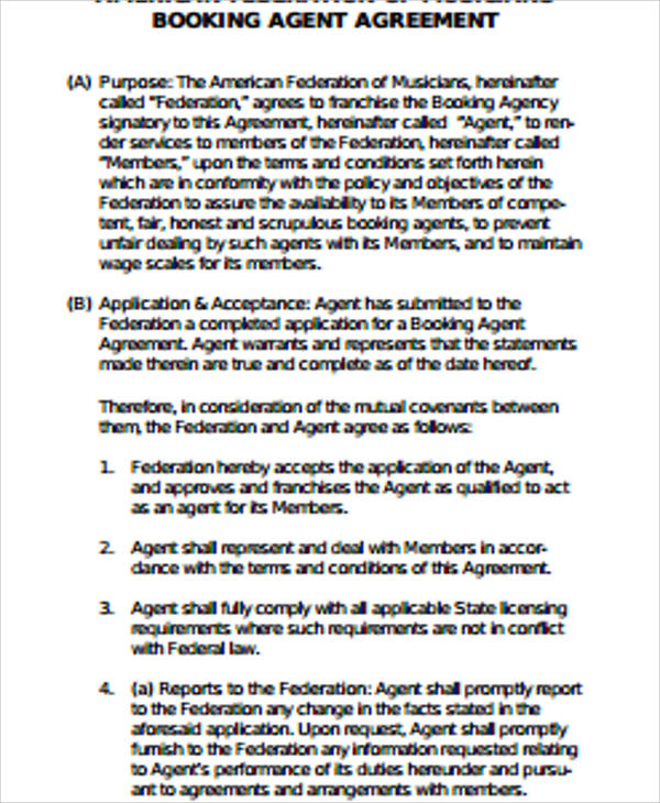 Sample Agent Contract Agreement 9 Examples In Word PDF