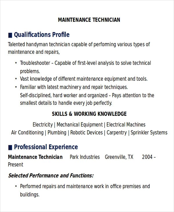 Sample Maintenance Technician Resume 9 Examples In Word PDF