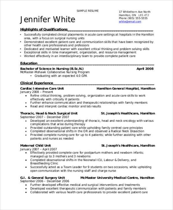 Sample Student Nurse Resume Templates