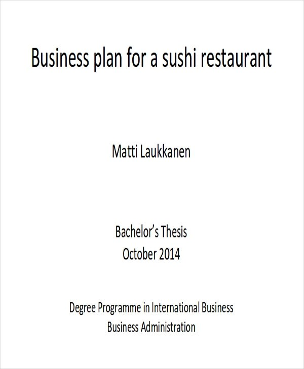 13 Sample Restaurant Business Plan Examples In Word Pdf