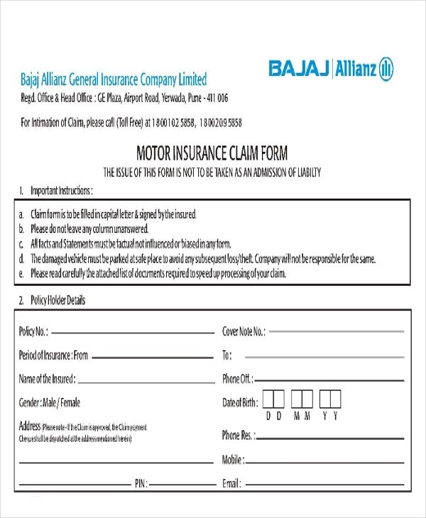 Bajaj Allianz Motor Insurance Claim Form Download  ImpremediaNet