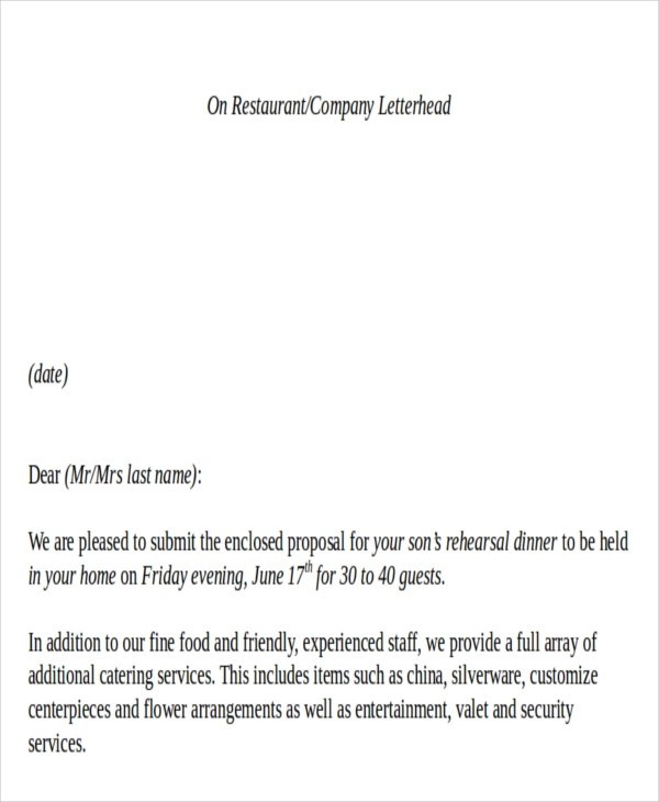 Service Proposal Letter Business Proposal Examples 30 Business – Sample Catering Proposal Template