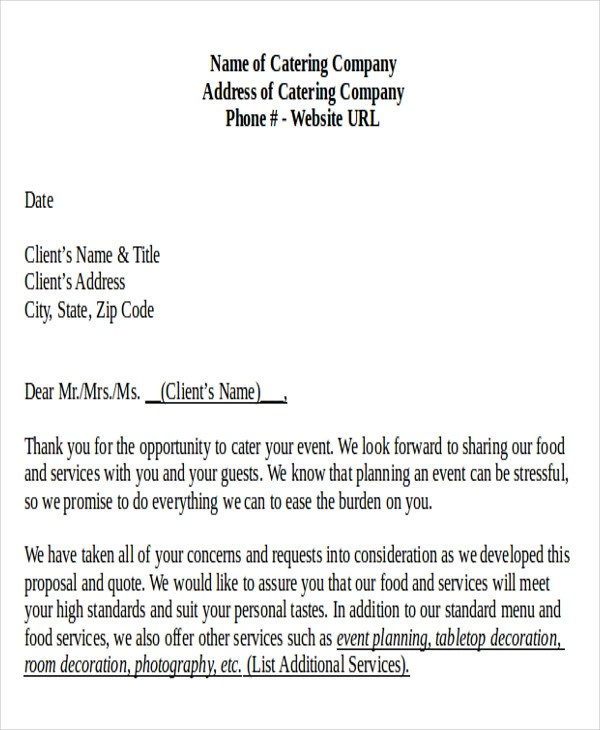 Catering Proposal Letter  MytemplateCo