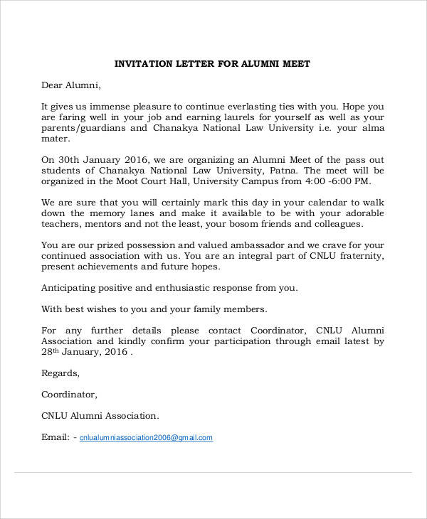 sample invitation letter templates in