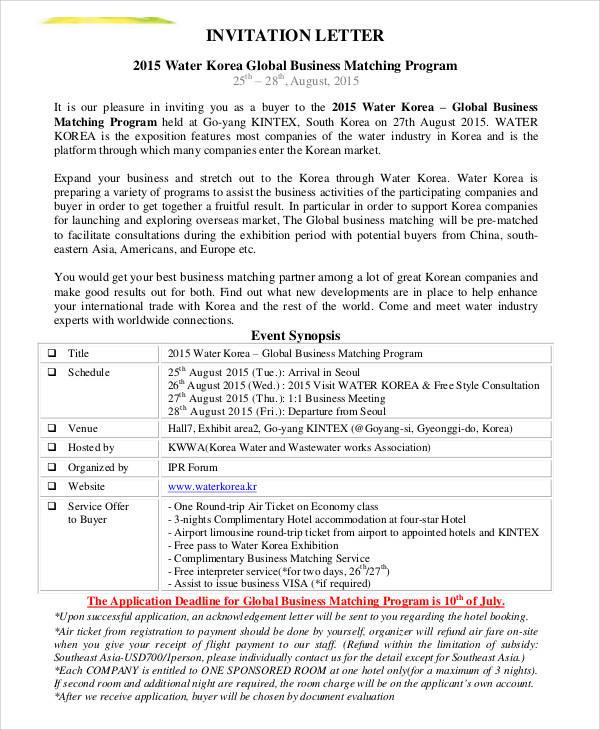 Business Invitation Letter