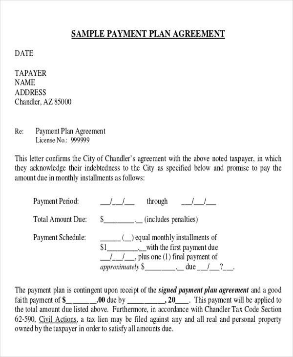 Payment Plan Agreement Letter Template | Docoments Ojazlink