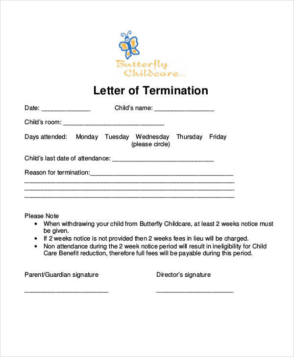 two weeks notice letter for daycare