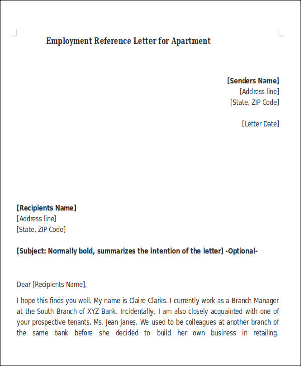 Letter Of Recommendation For Apartment From Employer Dorit