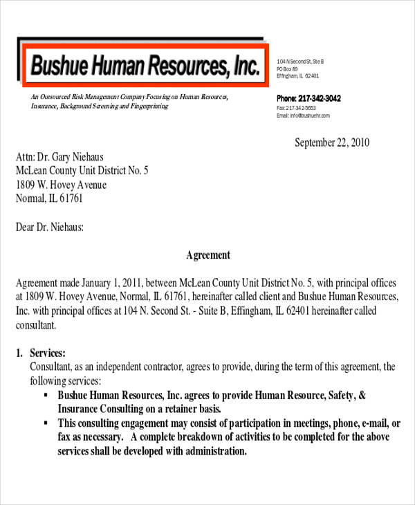 Consulting Retainer Agreement Templates Word