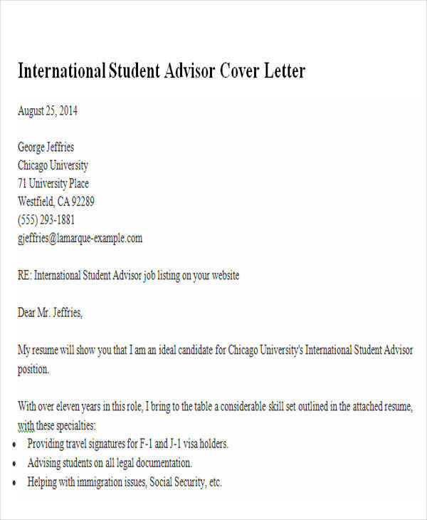 Sample Cover Letter For International Student Advisor Position