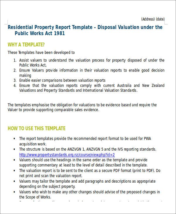 Sample Property Valuation Report 6 Examples In Word PDF Docs