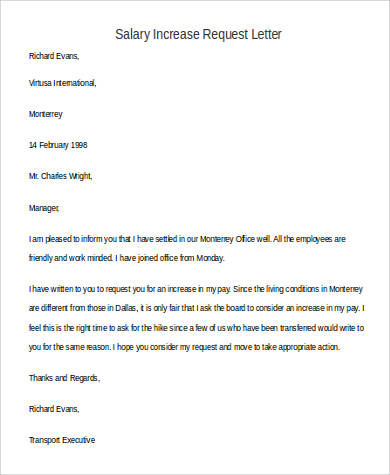 Salary Request Letter Template  Letter Format For Salary Increment
