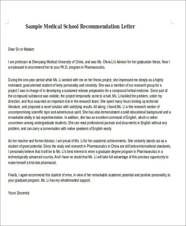 Medical School Letter Of Recommendation Template  Docoments Ojazlink