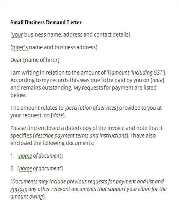 demand payment letter