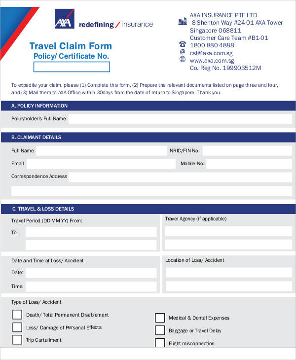 Axa Travel Insurance Claims Contact Number