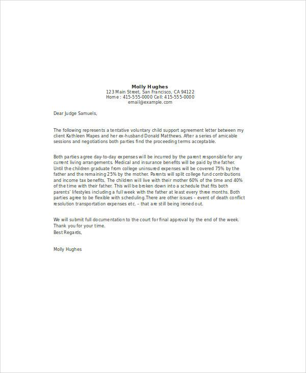 2017 child support agreement letter template sample. Resume Example. Resume CV Cover Letter