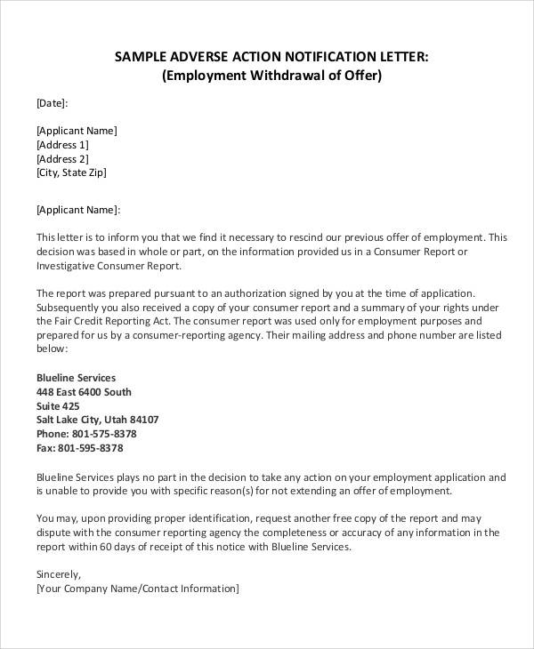 Withdrawal Of Conditional Offer Of Employment Letter