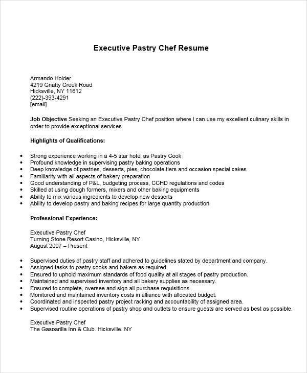 Pastry Chef Job Description