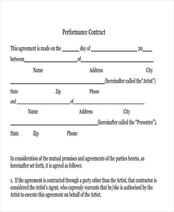 10 Artist Contract Templates Pages Docs PDF