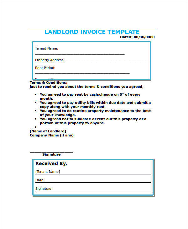 15 Rent Invoices Free Word PDF Format Download