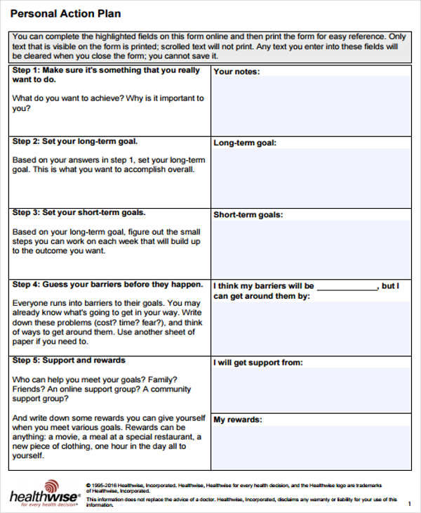 11 Personal Plan Samples Templates Pdf Docs Word