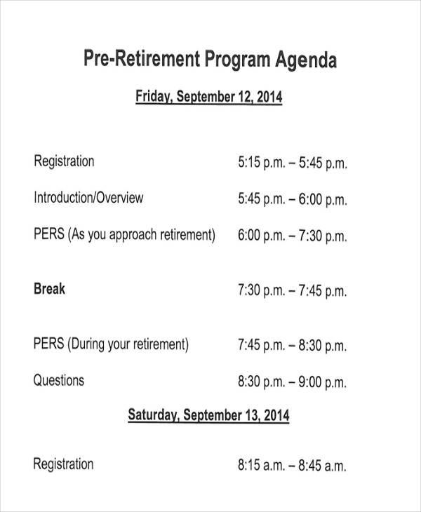 retirement program samples free download aashe