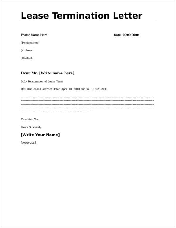 FREE 16 Lease Termination Letter Format Samples Templates In Word PDF