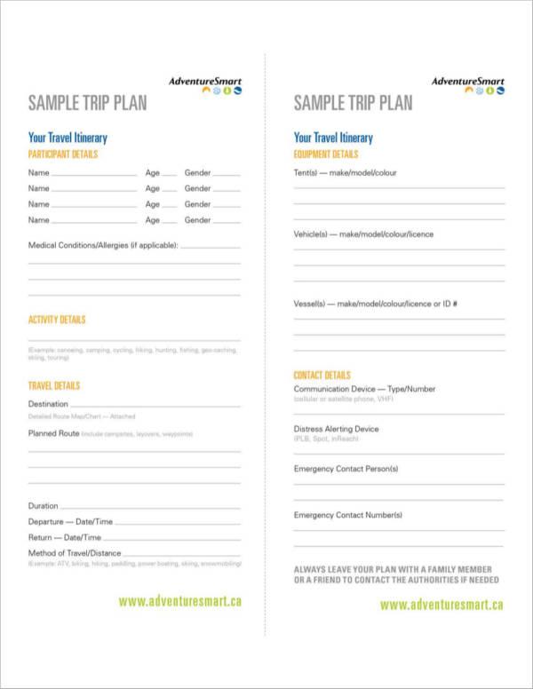 Free 11 Travel Planner Samples Templates Pdf