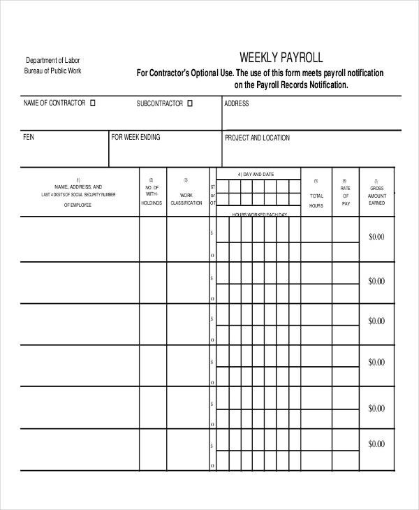 14 Employee Payroll Samples Templates PDF Word Excel