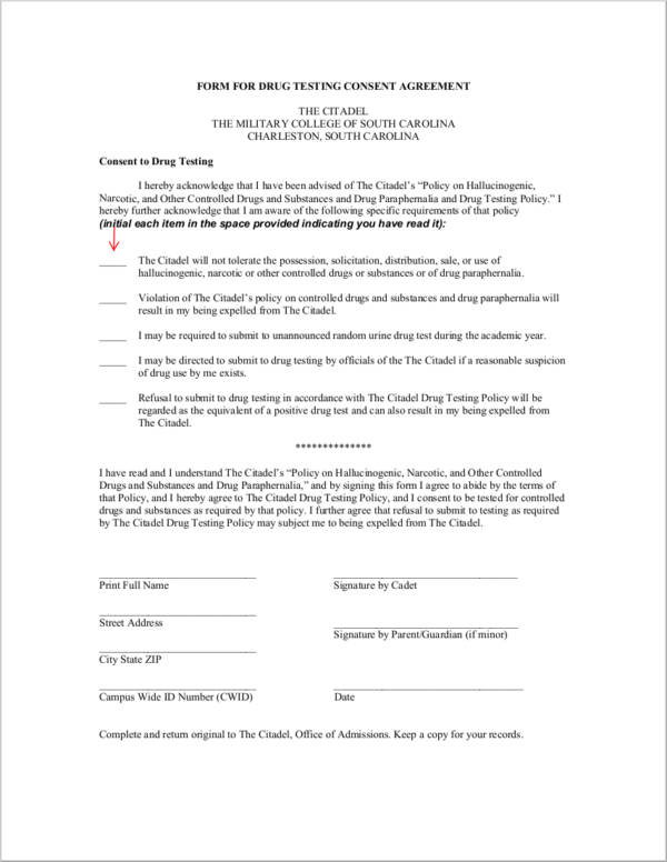 Free 17 Drug Testing Consent Agreement Samples And