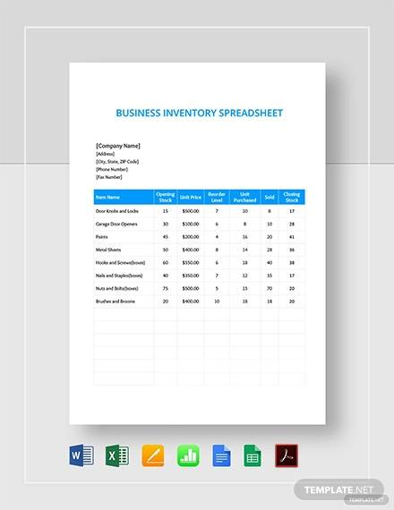 Free 11 Inventory Spreadsheet Templates In Google Docs