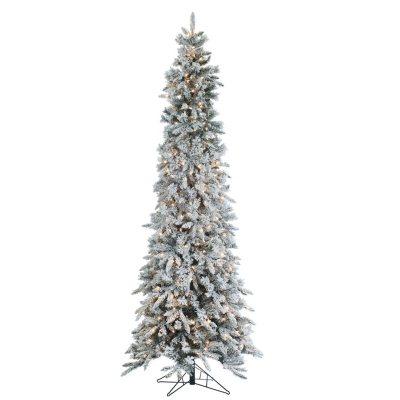 9 Pre Lit Narrow Design Flocked Pencil Pine Christmas