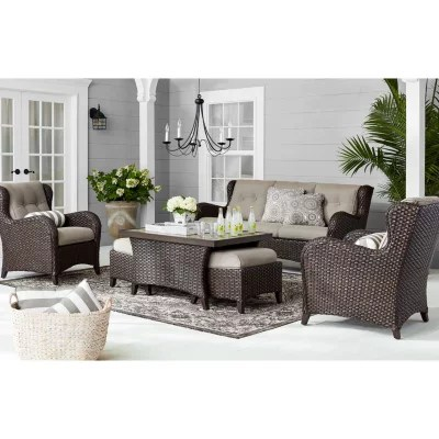 Outdoor Furniture Sets for the Patio   Sam s Club Member s Mark Agio Heritage Sunbrella Seating Set  Cast Shale