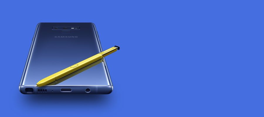 Latest Samsung Smartphone   Samsung LEVANT The rear of ocean blue Galaxy Note9 with yellow S Pen on top  viewed from